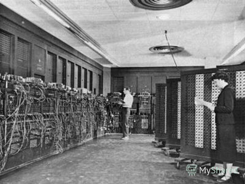 первый широкомасштабный электронный цифровой компьютер, который можно было перепрограммировать для решения полного диапазона задач ( предыдущие компьютеры имели только часть из этих свойств ). Построен в 1946 году по заказу Армии США в Лаборатории ба