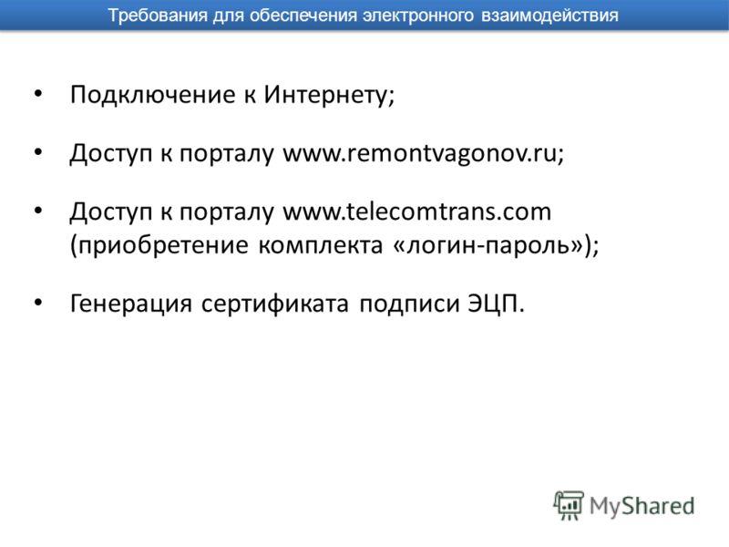 Требования для обеспечения электронного взаимодействия Подключение к Интернету; Доступ к порталу www.remontvagonov.ru; Доступ к порталу www.telecomtrans.com (приобретение комплекта «логин-пароль»); Генерация сертификата подписи ЭЦП.