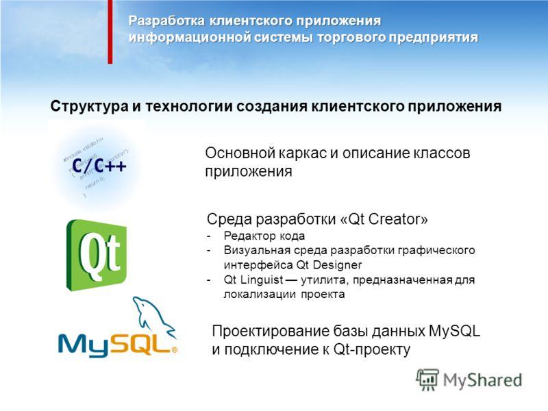 Разработка клиентского приложения информационной системы торгового предприятия Структура и технологии создания клиентского приложения Основной каркас и описание классов приложения Проектирование базы данных MySQL и подключение к Qt-проекту Cреда разр