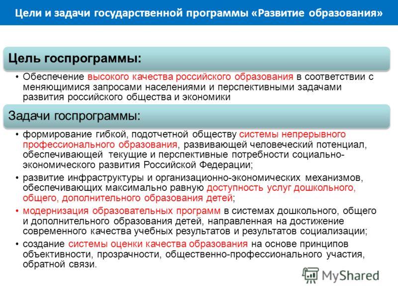 Цели и задачи государственной программы «Развитие образования» Цель госпрограммы: Обеспечение высокого качества российского образования в соответствии с меняющимися запросами населениями и перспективными задачами развития российского общества и эконо