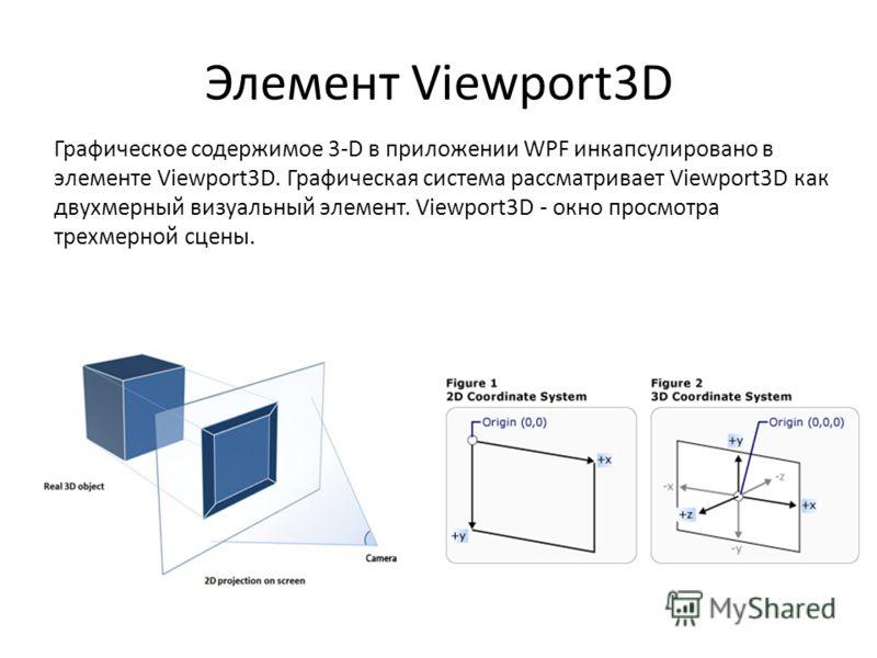 Элемент Viewport3D Графическое содержимое 3-D в приложении WPF инкапсулировано в элементе Viewport3D. Графическая система рассматривает Viewport3D как двухмерный визуальный элемент. Viewport3D - окно просмотра трехмерной сцены.