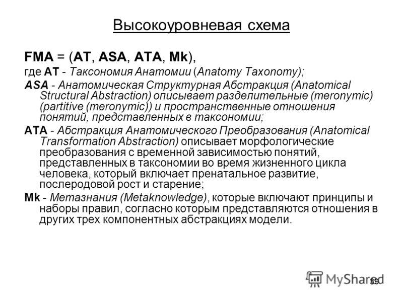 39 Высокоуровневая схема FMA = (АТ, ASA, ATA, Mk), где АТ - Таксономия Анатомии (Anatomy Taxonomy); ASA - Анатомическая Структурная Абстракция (Anatomical Structural Abstraction) описывает разделительные (meronymic) (partitive (meronymic)) и простран