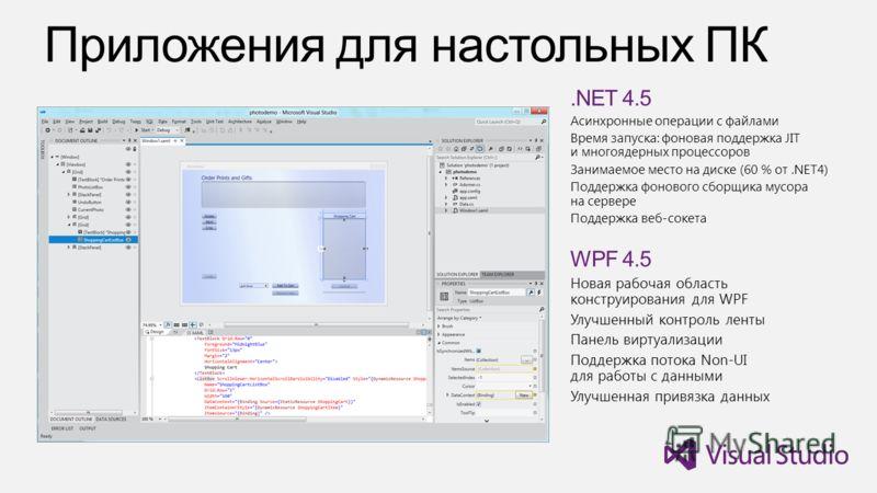 .NET 4.5 Асинхронные операции с файлами Время запуска: фоновая поддержка JIT и многоядерных процессоров Занимаемое место на диске (60 % от.NET4) Поддержка фонового сборщика мусора на сервере Поддержка веб-сокета WPF 4.5 Новая рабочая область конструи