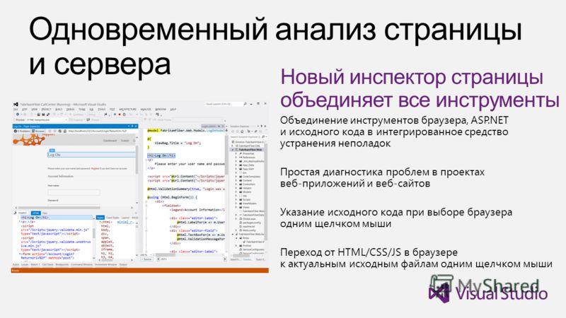 Новый инспектор страницы объединяет все инструменты Объединение инструментов браузера, ASP.NET и исходного кода в интегрированное средство устранения неполадок Простая диагностика проблем в проектах веб-приложений и веб-сайтов Указание исходного кода