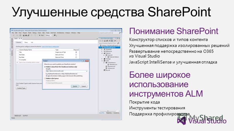 Понимание SharePoint Конструктор списков и типов контента Улучшенная поддержка изолированных решений Развертывание непосредственно на O365 из Visual Studio JavaScript IntelliSense и улучшенная отладка Более широкое использование инструментов ALM Покр