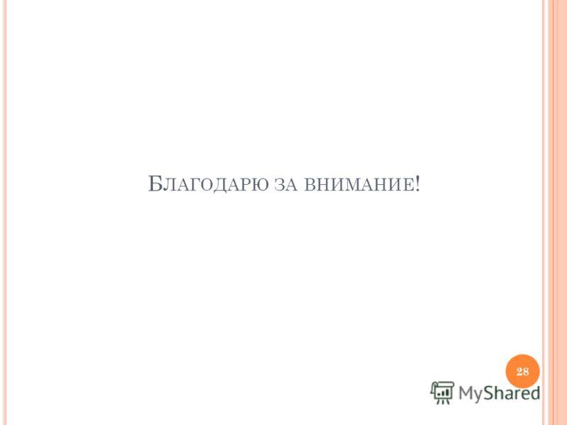 Б ЛАГОДАРЮ ЗА ВНИМАНИЕ ! 28