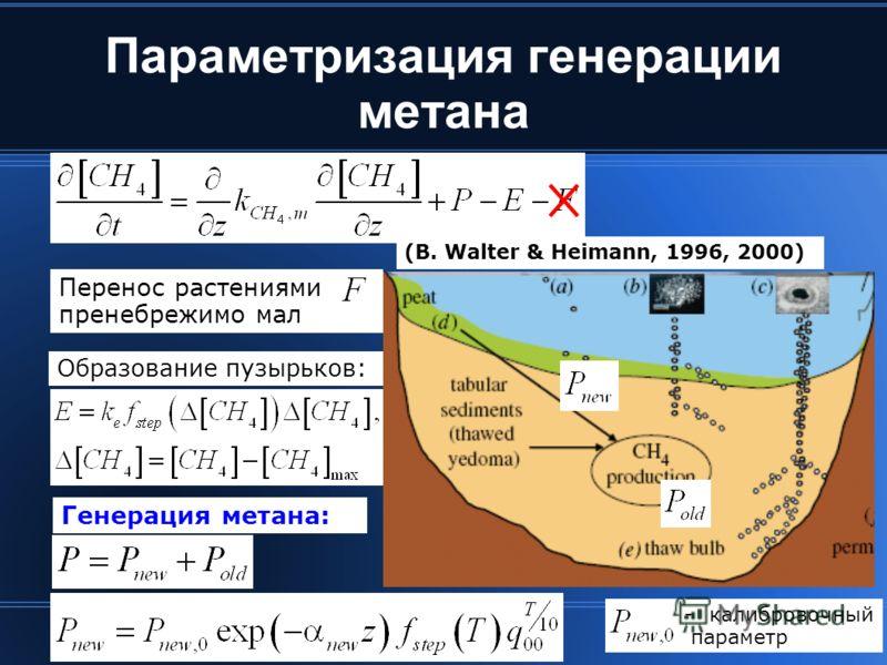 Параметризация генерации метана Генерация метана: Образование пузырьков: (B. Walter & Heimann, 1996, 2000) Перенос растениями пренебрежимо мал -калибровочный параметр