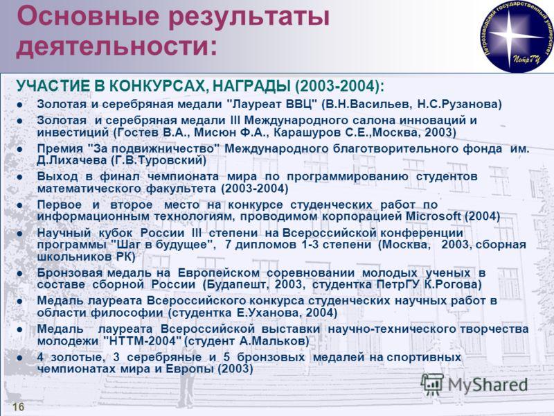 16 Основные результаты деятельности: УЧАСТИЕ В КОНКУРСАХ, НАГРАДЫ (2003-2004): Золотая и серебряная медали
