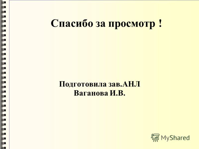 Спасибо за просмотр ! Подготовила зав.АНЛ Ваганова И.В.