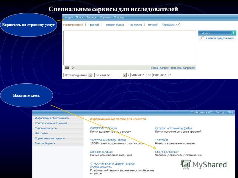 Специальные сервисы для исследователей Вернитесь на страницу услуг Нажмите здесь