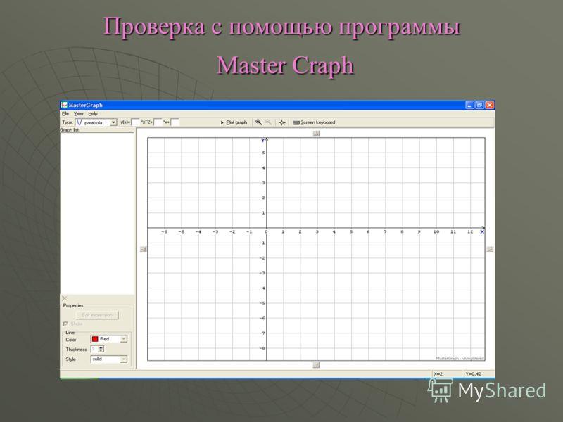 Проверка с помощью программы Master Craph