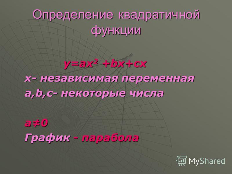 Определение квадратичной функции y=ax 2 +bx+cх y=ax 2 +bx+cх х- независимая переменная х- независимая переменная а,b,c- некоторые числа а,b,c- некоторые числа a0 a0 График - парабола График - парабола