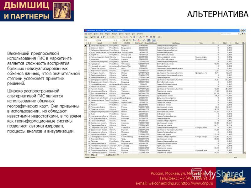Россия, Москва, ул. Мясницкая, 17 Тел./факс: +7 (495) 258 91 33 e-mail: welcome@dnp.ru; http://www.dnp.ru АЛЬТЕРНАТИВА Важнейшей предпосылкой использования ГИС в маркетинге является сложность восприятия больших невизуализированных объемов данных, что