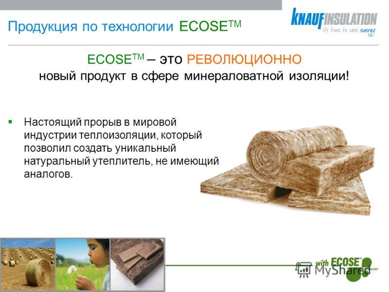 Продукция по технологии ECOSE TM ECOSE TM – это РЕВОЛЮЦИОННО новый продукт в сфере минераловатной изоляции! Настоящий прорыв в мировой индустрии теплоизоляции, который позволил создать уникальный натуральный утеплитель, не имеющий аналогов.