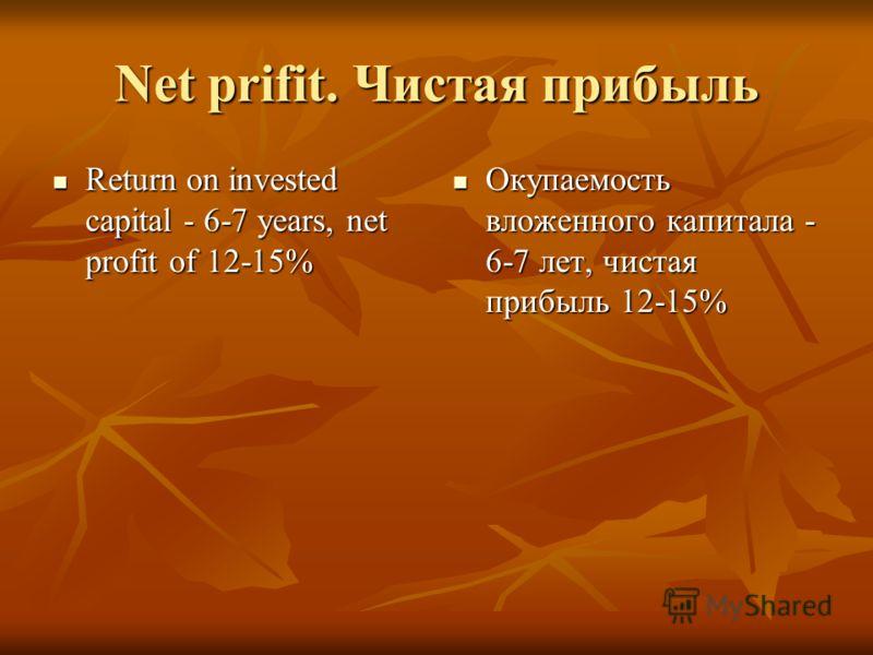 Net prifit. Чистая прибыль Return on invested capital - 6-7 years, net profit of 12-15% Return on invested capital - 6-7 years, net profit of 12-15% Окупаемость вложенного капитала - 6-7 лет, чистая прибыль 12-15% Окупаемость вложенного капитала - 6-