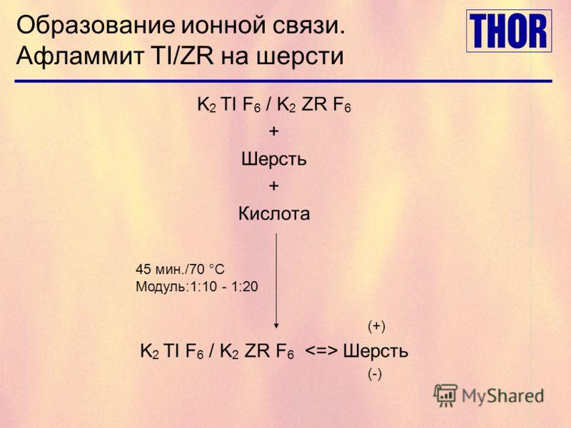 Образование ионной связи. Афламмит TI/ZR на шерсти K 2 TI F 6 / K 2 ZR F 6 + Шерсть + Кислота K 2 TI F 6 / K 2 ZR F 6 Шерсть 45 мин./70 °C Модуль:1:10 - 1:20 (+) (-)