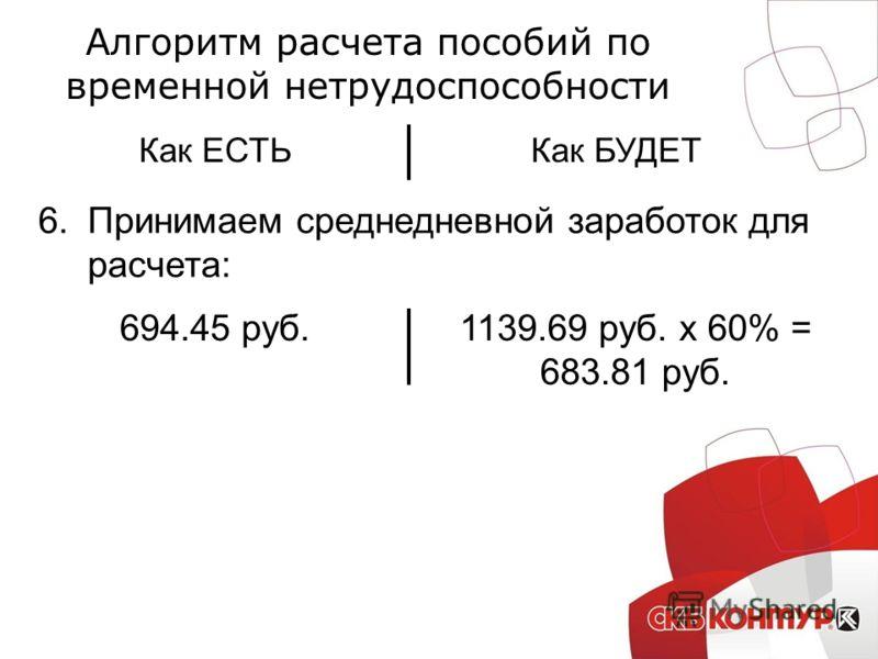 Алгоритм расчета пособий по временной нетрудоспособности Как ЕСТЬКак БУДЕТ 6.Принимаем среднедневной заработок для расчета: 694.45 руб.1139.69 руб. х 60% = 683.81 руб.