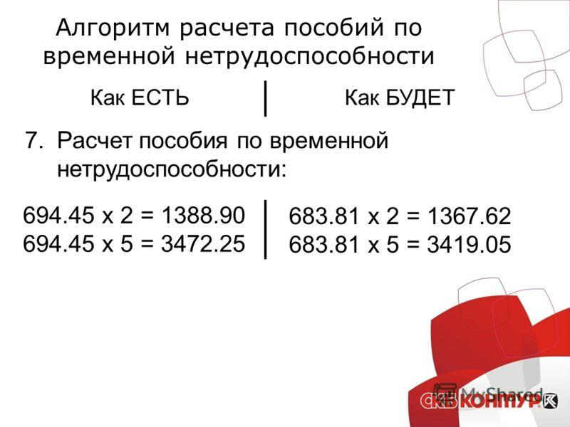 Алгоритм расчета пособий по временной нетрудоспособности Как ЕСТЬКак БУДЕТ 7.Расчет пособия по временной нетрудоспособности: 694.45 х 2 = 1388.90 694.45 х 5 = 3472.25 683.81 х 2 = 1367.62 683.81 х 5 = 3419.05