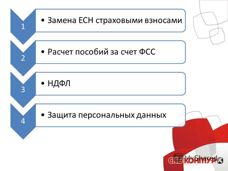 1 Замена ЕСН страховыми взносами 2 Расчет пособий за счет ФСС 3 НДФЛ 4 Защита персональных данных