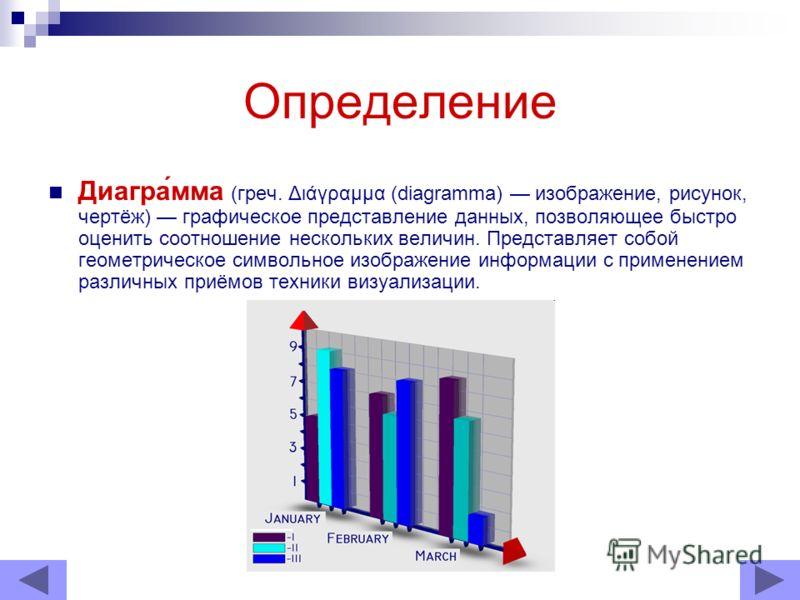 Определение Диагра́мма (греч. Διάγραμμα (diagramma) изображение, рисунок, чертёж) графическое представление данных, позволяющее быстро оценить соотношение нескольких величин. Представляет собой геометрическое символьное изображение информации с приме