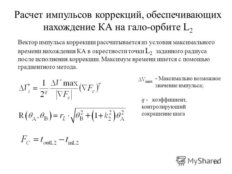 Расчет импульсов коррекций, обеспечивающих нахождение КА на гало-орбите L 2 - Максимально возможное значение импульса; q - коэффициент, контролирующий сокращение шага 14 Вектор импульса коррекции рассчитывается из условия максимального времени нахожд