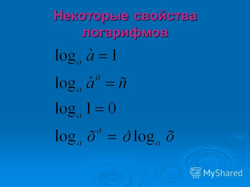 Некоторые свойства логарифмов