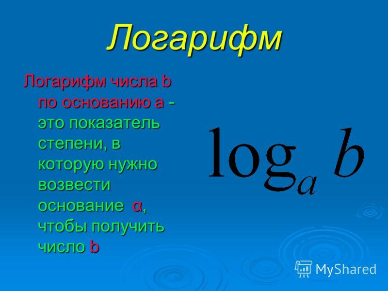 Логарифм Логарифм числа b по основанию а - это показатель степени, в которую нужно возвести основание α, чтобы получить число b