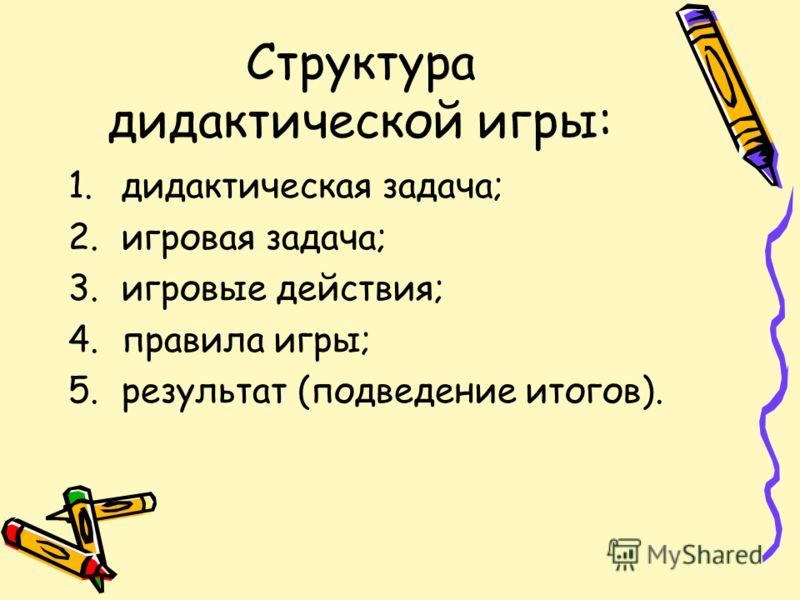 Структура дидактической игры: 1.дидактическая задача; 2.игровая задача; 3.игровые действия; 4.правила игры; 5.результат (подведение итогов).