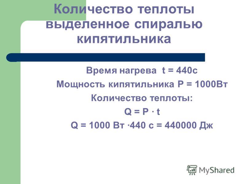 Количество теплоты выделенное спиралью кипятильника Время нагрева t = 440c Мощность кипятильника Р = 1000Вт Количество теплоты: Q = P · t Q = 1000 Вт ·440 с = 440000 Дж