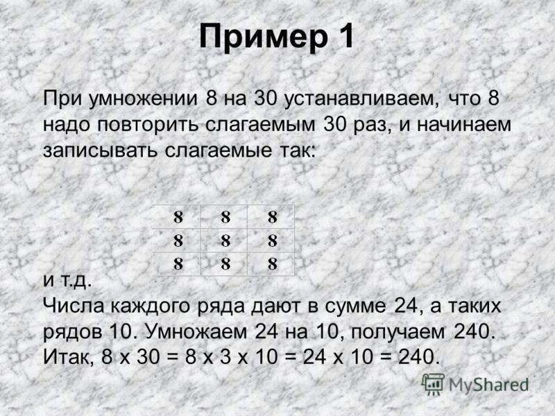 Круглые числа Под круглым числом в широком смысле слова понимают число, которое оканчивается одним или несколькими нулями. Таковы числа 30, 500, 420, 1700 и т. д. Примеры: 6 x 20 = 6 x 2 x 10 = 12 x 10 = 120