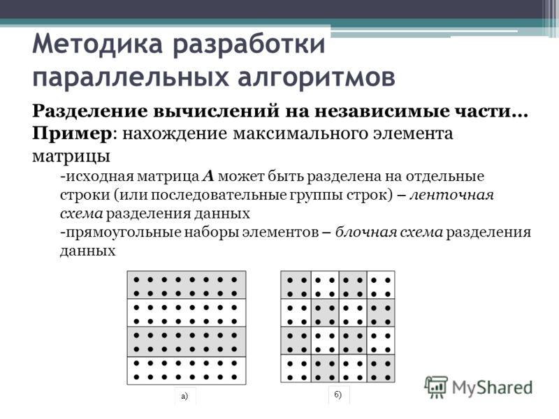 Методика разработки параллельных алгоритмов Разделение вычислений на независимые части… Пример: нахождение максимального элемента матрицы -исходная матрица A может быть разделена на отдельные строки (или последовательные группы строк) – ленточная схе