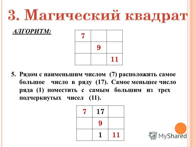Это такой квадрат, в котором сумма чисел в любом направлении равна одному и тому же числу. АЛГОРИТМ: 1.Подобрать 9 таких чисел, чтобы разность между соседними числами была равна постоянному числу. (Например: 1, 3, 5, 7, 9, 11, 13, 15, 17) 2.В этом ря