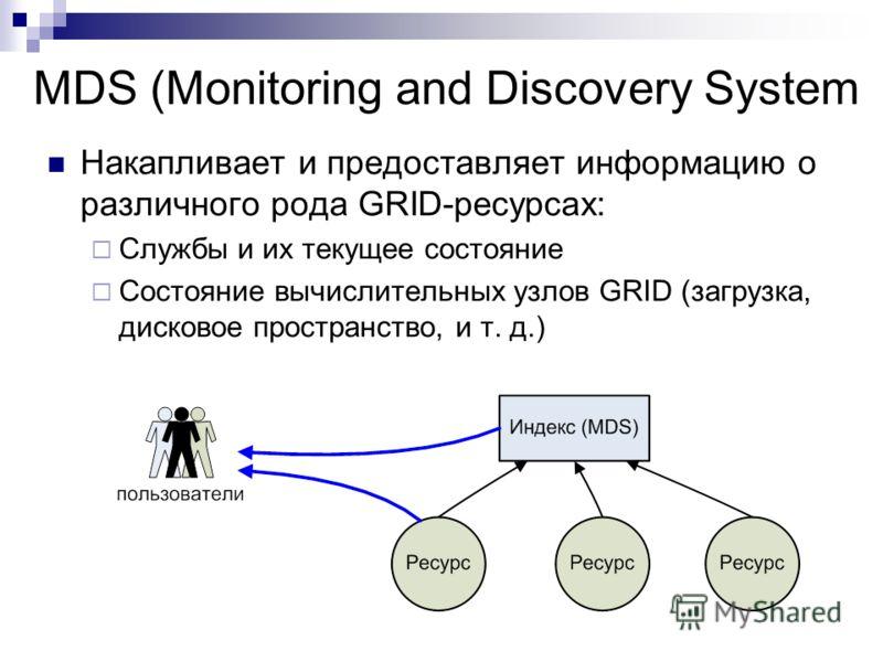 MDS (Monitoring and Discovery System Накапливает и предоставляет информацию о различного рода GRID-ресурсах: Службы и их текущее состояние Состояние вычислительных узлов GRID (загрузка, дисковое пространство, и т. д.)