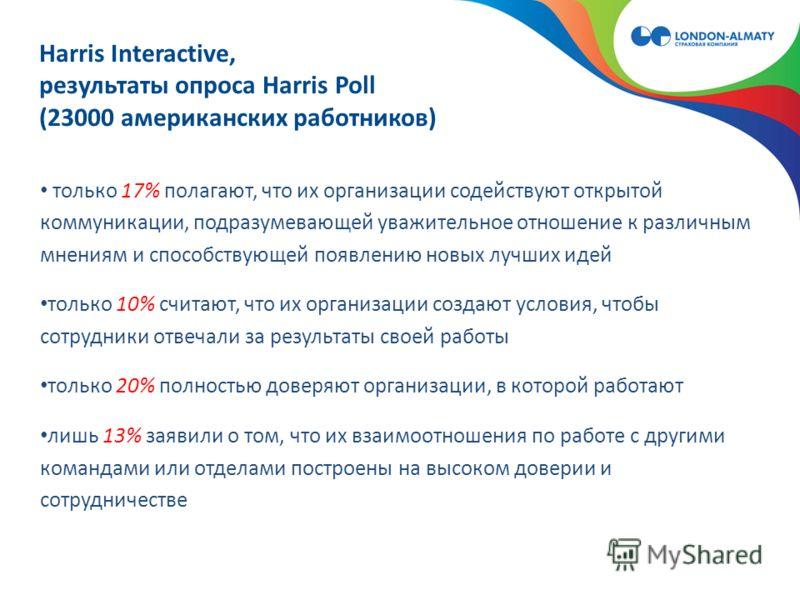 Harris Interactive, результаты опроса Harris Poll (23000 американских работников) только 17% полагают, что их организации содействуют открытой коммуникации, подразумевающей уважительное отношение к различным мнениям и способствующей появлению новых л