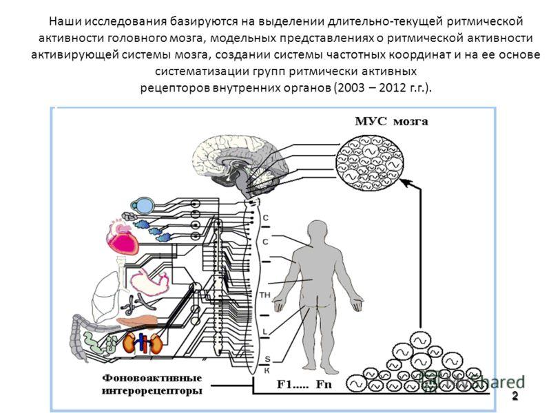 Наши исследования базируются на выделении длительно-текущей ритмической активности головного мозга, модельных представлениях о ритмической активности активирующей системы мозга, создании системы частотных координат и на ее основе систематизации групп
