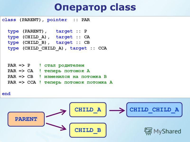 Оператор class class (PARENT), pointer :: PAR type (PARENT), target :: P type (CHILD_A), target :: CA type (CHILD_B), target :: CB type (CHILD_CHILD_A), target :: CCA PAR => P ! стал родителем PAR => CA ! теперь потомок А PAR => CB ! изменился на пот