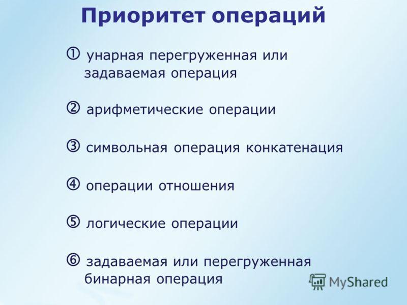 Приоритет операций унарная перегруженная или задаваемая операция арифметические операции символьная операция конкатенация операции отношения логические операции задаваемая или перегруженная бинарная операция