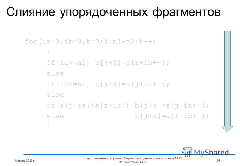 Слияние упорядоченных фрагментов for(ia=0,ib=0,k=0;k=n1) b[j+k]=a[r+ib++]; else if(ib>=n2) b[j+k]=a[j+ia++]; else if(a[j+ia]