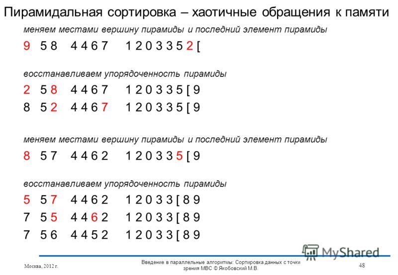 меняем местами вершину пирамиды и последний элемент пирамиды 9 5 8 4 4 6 7 1 2 0 3 3 5 2 [ восстанавливаем упорядоченность пирамиды 2 5 8 4 4 6 7 1 2 0 3 3 5 [ 9 8 5 2 4 4 6 7 1 2 0 3 3 5 [ 9 меняем местами вершину пирамиды и последний элемент пирами
