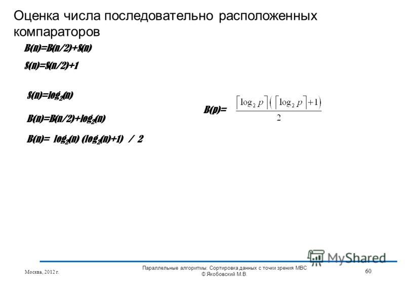 Оценка числа последовательно расположенных компараторов Москва, 2012 г. 60 Параллельные алгоритмы: Сортировка данных с точки зрения МВС © Якобовский М.В. B(n)=B(n/2)+S(n) S(n)=S(n/2)+1 S(n)=log 2 (n) B(n)=B(n/2)+log 2 (n) B(n)= log 2 (n) (log 2 (n)+1