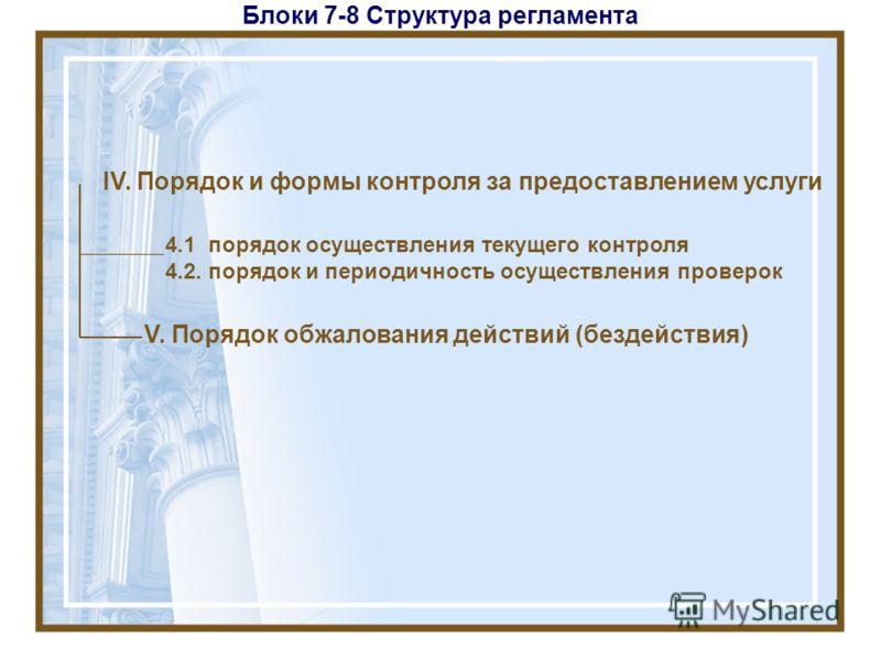 Блоки 7-8 Структура регламента IV. Порядок и формы контроля за предоставлением услуги V. Порядок обжалования действий (бездействия) 4.1 порядок осуществления текущего контроля 4.2. порядок и периодичность осуществления проверок