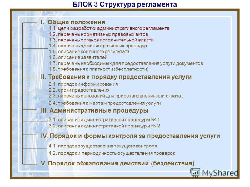 БЛОК 3 Структура регламента I. Общие положения II. Требования к порядку предоставления услуги III. Административные процедуры IV. Порядок и формы контроля за предоставления услуги V. Порядок обжалования действий (бездействия) 1.1 цели разработки адми