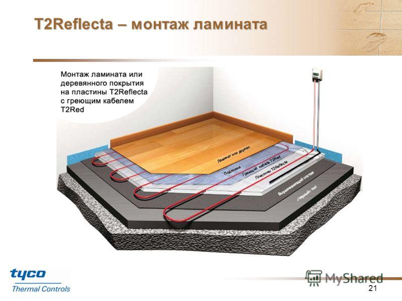 Т2Reflecta – монтаж ламината 20 Монтаж ламината или деревянного покрытия на пластины T2Reflecta c греющим кабелем T2Red Пластины T2Reflecta могут быть уложены как основа «плавающего» пола, что позволит сберечь дни или даже недели, которые уйдут на за