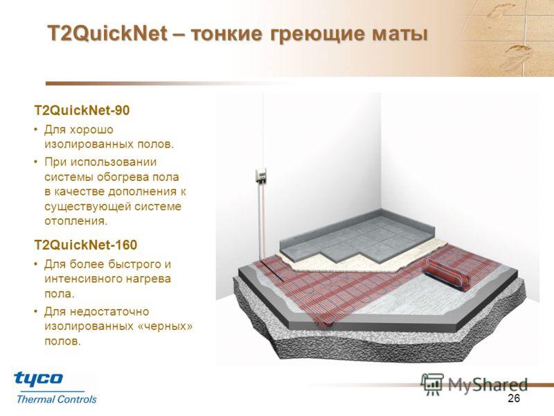 Т2QuickNet – тонкие греющие маты 25 Толщина всего 3 мм. Один «холодный ввод» (двухжильный кабель). Идеально подходит для встроенного обогрева пола, рассчитан на укладку в клеящий состав керамической плитки или тонкую стяжку под напольным покрытием. М