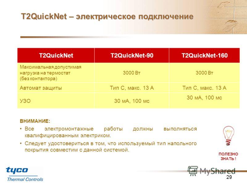Т2QuickNet – технические характеристики 28 T2QuickNetT2QuickNet-90T2QuickNet-160 Тип и мощность кабеля Кабель с постоянной мощностью обогрева 8,1 Вт/м Кабель с постоянной мощностью обогрева 11 Вт/м Мощность обогрева90 Вт/кв.м160 Вт/кв.м Номинальное н