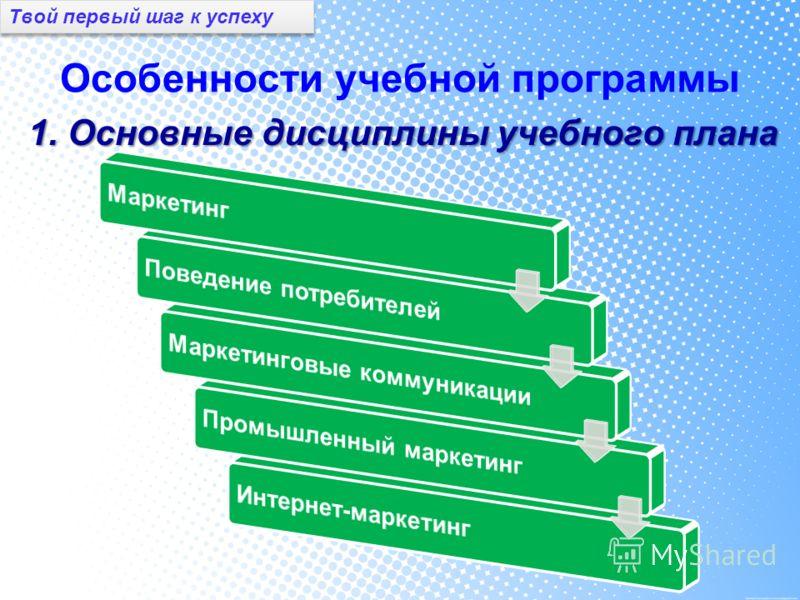 Особенности учебной программы 1. Основные дисциплины учебного плана Твой первый шаг к успеху