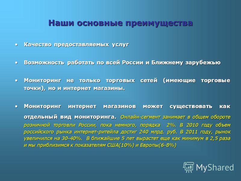 Наши основные преимущества Качество предоставляемых услугКачество предоставляемых услуг Возможность работать по всей России и Ближнему зарубежьюВозможность работать по всей России и Ближнему зарубежью Мониторинг не только торговых сетей (имеющие торг