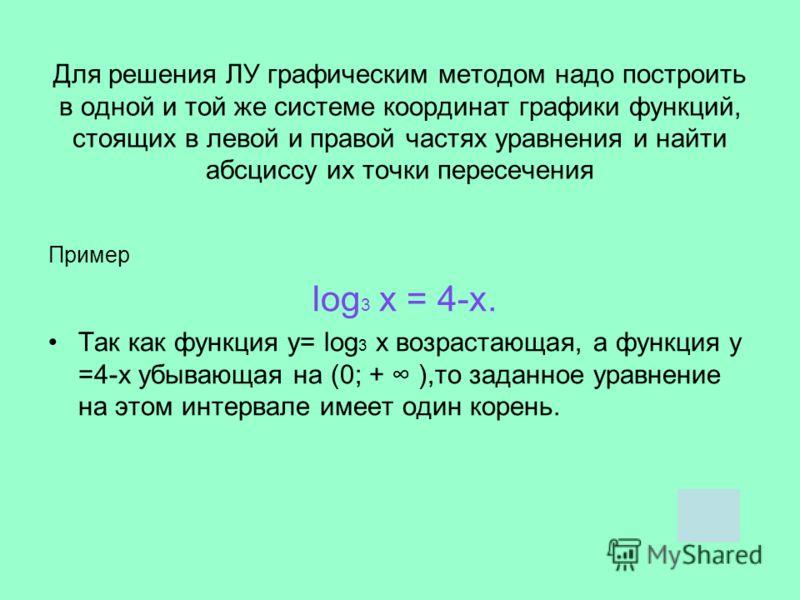 Для решения ЛУ графическим методом надо построить в одной и той же системе координат графики функций, стоящих в левой и правой частях уравнения и найти абсциссу их точки пересечения Пример log 3 х = 4-х. Так как функция у= log 3 х возрастающая, а фун