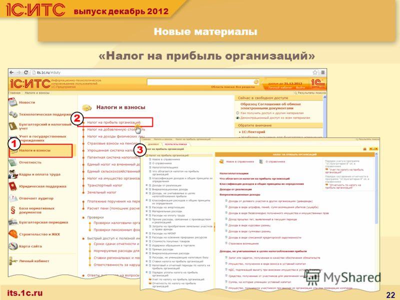 выпуск декабрь 2012 Новые материалы its.1c.ru «Налог на прибыль организаций» 22 3 2 1