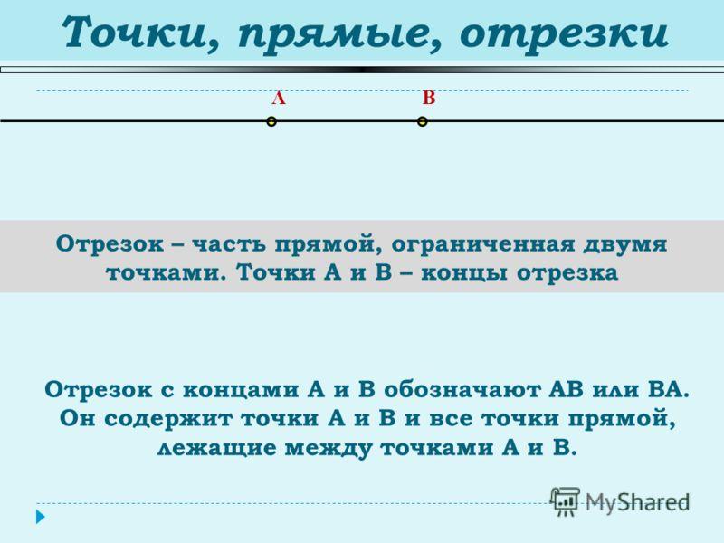Точки, прямые, отрезки Отрезок – часть прямой, ограниченная двумя точками. Точки A и B – концы отрезка AB Отрезок с концами А и В обозначают АВ или ВА. Он содержит точки А и В и все точки прямой, лежащие между точками А и В.